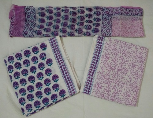 Women Unstitched Cotton Suit in  Sanganer