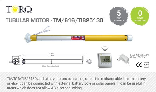 Built In Battery Tubular Motors