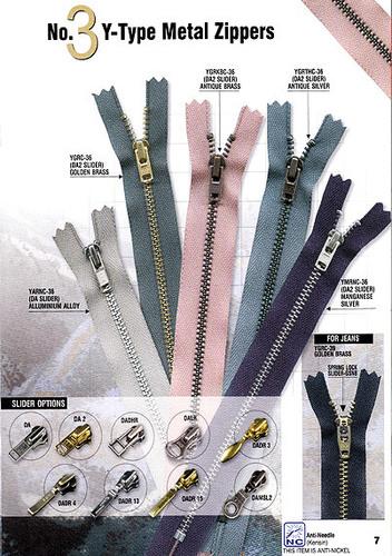 Y Type Zippers
