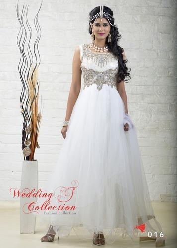 38fc6ee8b1a Ladies Attractive White Gown in Surat