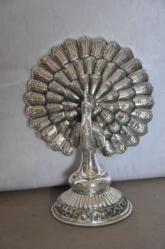 Decorative Silver Peacock Statues