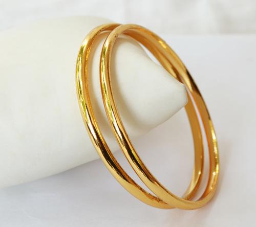 Gold Plain Bangles