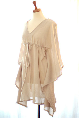 Cotton Gauze Beach Coverup Mini Caftan Dress in  Maharani Bagh