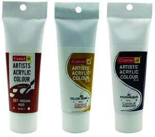 Camlin Acrylic Colour Tubes 40Ml Red Prussian Blue Yellow Ochre