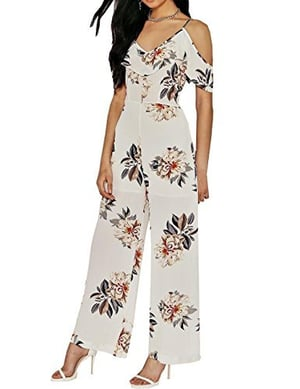 Darlency Women\\342\\200\\231s Strap Floral Ruffle V Neck Off the Shoulder Daily Chiffon Jumpsuit