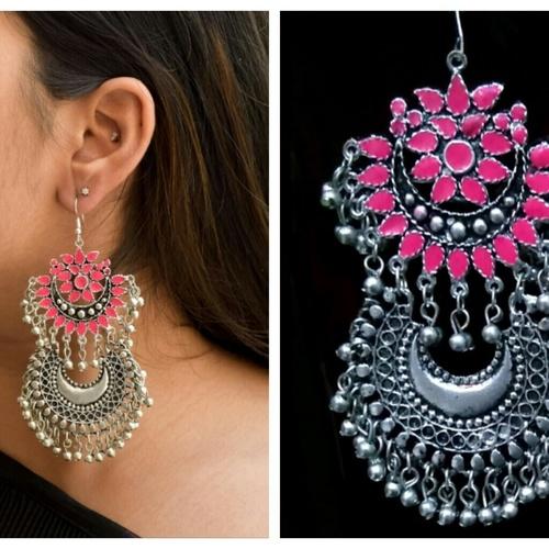 Afghani Silver Pink Leaf Earrings