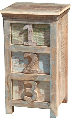 Wooden Reclaimed Three Drawer Number Bedside