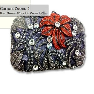 Metal Clutch Bag With Flower