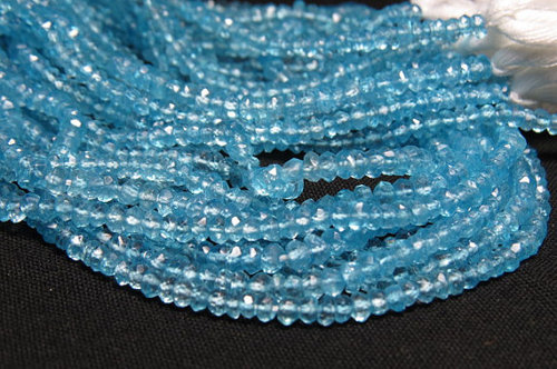 Blue Topaz 14'' Inches Long Micro Faceted Rondell Beads