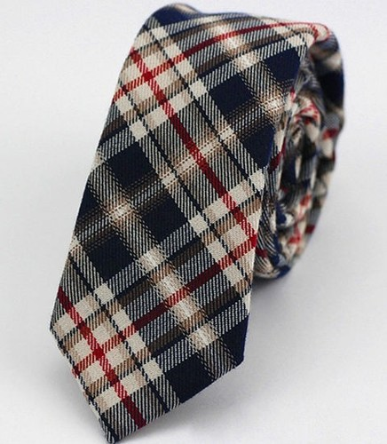 Men Striped Polyester Wool Slim Narrow Ties