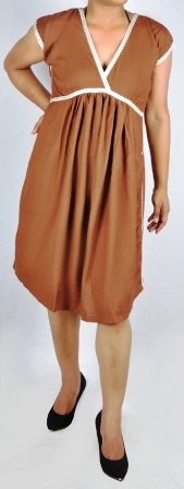 Ladies V Neck Dress With Lace Piping