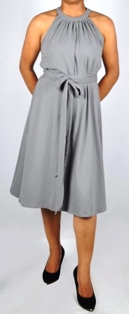 Grey Colored Ladies Gather Neck Sleeveless Dress With Belt