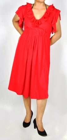 Red Color Frill Neck And Sleeves With Knee Length Tunic Night Dress