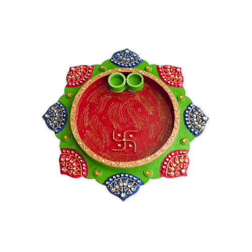 Multicolored Handmade Decorative Handcrafted Wooden Star Thali