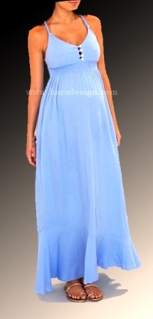Simple Strapes Blue Ankle Length Gown