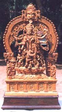 Sandalwood Hindu Goddess Statue