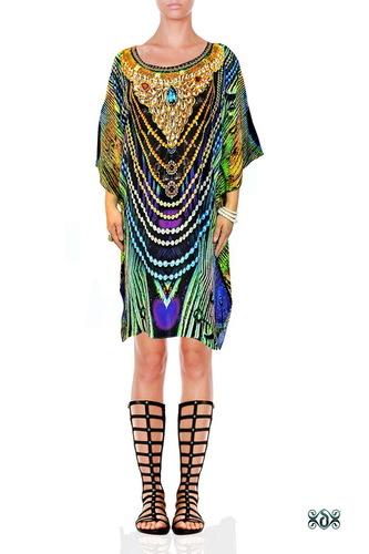 Digital Print Embellished Pure Silk Dress