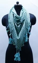 Ladies Print Cotton Scarf with Contrast Tassels