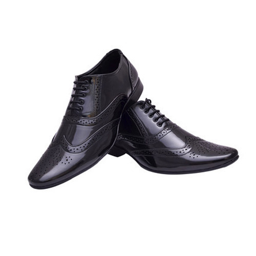 Mens Black Party Wear Leather Shoes