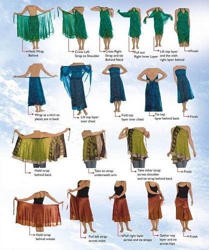 Women Vintage Silk Saree Skirts