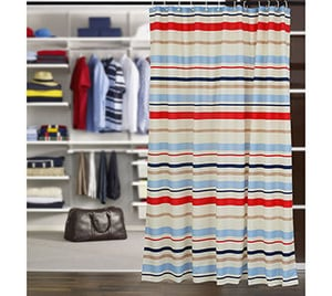 100% Water Proof High Quality Textile Shower Curtain With 12 Plastic Hooks