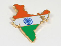 Indian Flag And Map Badge