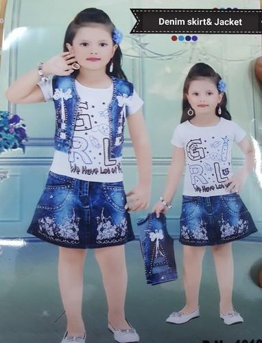 Kids Denim Skirt With Jacket