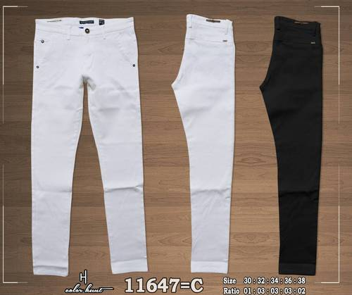 White and Black Color Cotton Trousers (11647)
