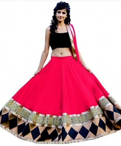 Fabfirki Latest Fashion Stylish Pink Lehenga Choli
