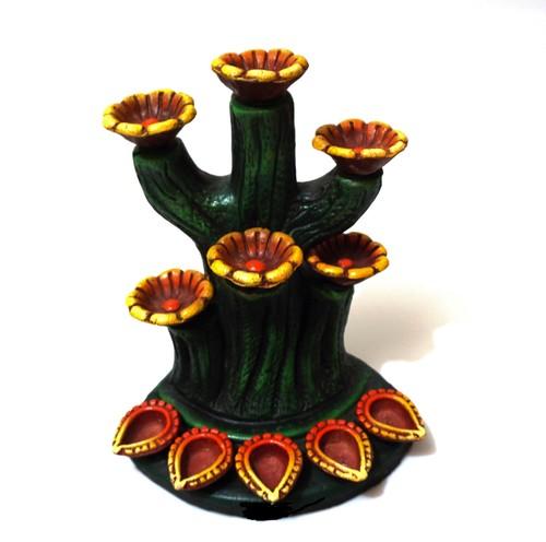 Tree Lamp 11 Terracotta Diya Set