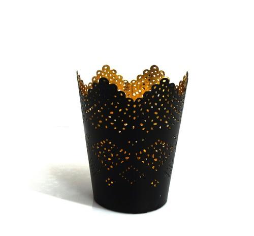 Metallic Black Glass Tea Light Holders