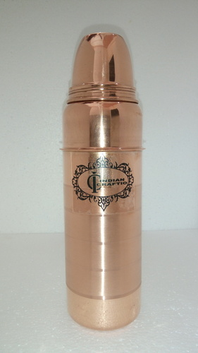 Indian Craftio Pure Copper Thermos Style Yoga Water Bottle