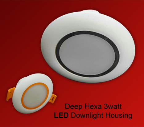 Deep Hexa 3 watt LED Down light Housing
