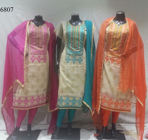Highly Comfort Chanderi Embroidery Suit