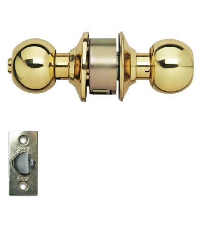 Cylindrical Lock Polished Brass Keyless