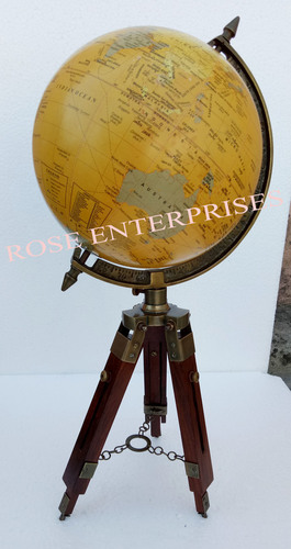 Antique World Map Globe With Tripod Stand
