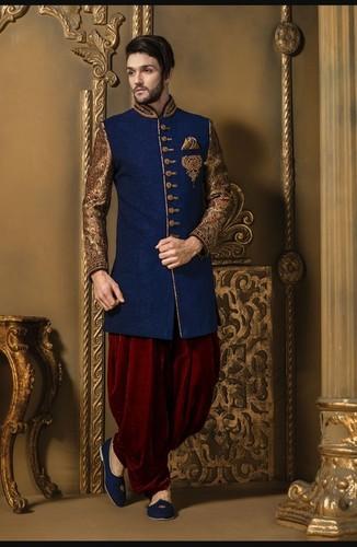 Indo Western Royal Mens Sherwani (Blue Color)