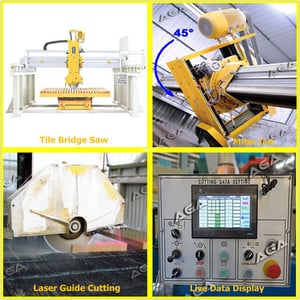 Automatic Bridge Saw for Cutting Granite Tiles with Miter Cut