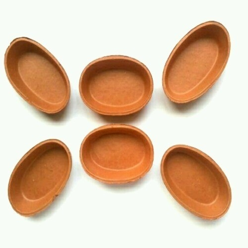 Terracotta Clay Brown Oval Shaped Bowls