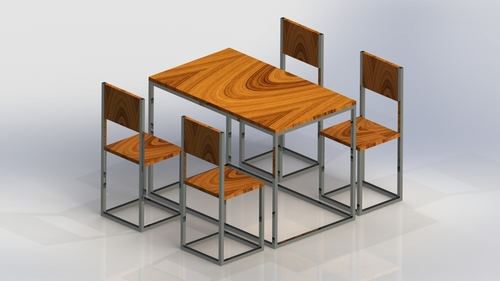 Steel And Wooden Table