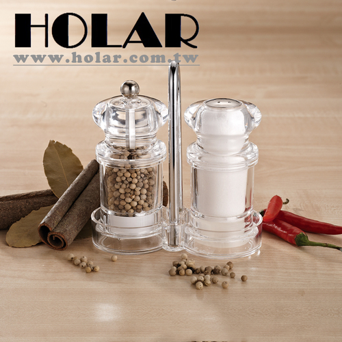 Clear Salt Shaker And Pepper Mill Set With Stand Series