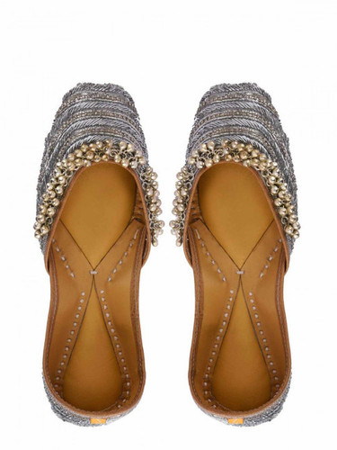 Grey Bridal Khussa Shoes
