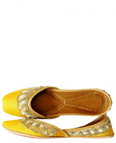Yellow Designer Women Mojri