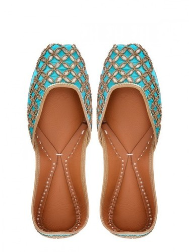 Firozi Women Embroidered Khussa Shoes