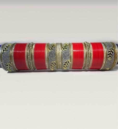 Wedding Red Color Semi Diamond Bangles Chura With Bangle