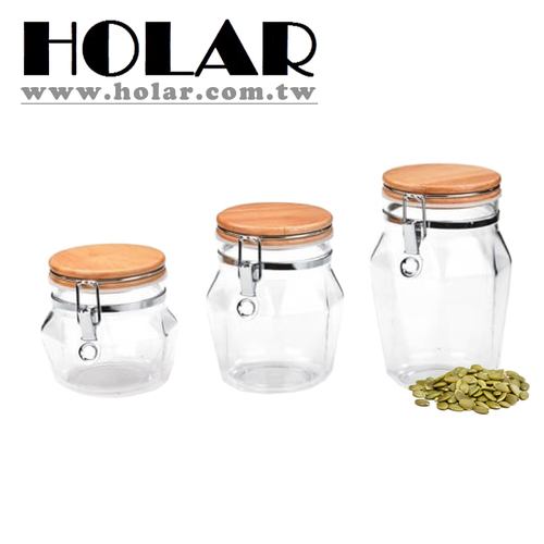 Diamond Shape Airtight Canister With Rubber Wood And Acrylic