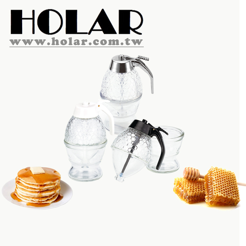 Honeycomb Design Fresh Glass Honey Dispenser Jar