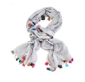 Solid Dyed Cotton Scarf With Tassels