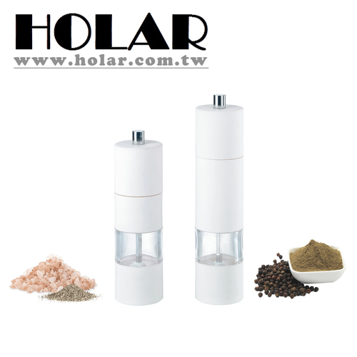 White Soft Touch Manual Acrylic Salt Pepper Grinder