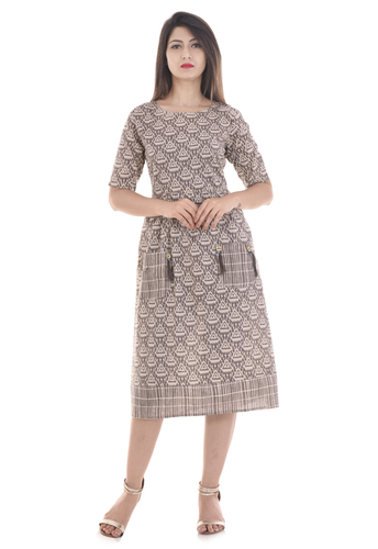 Brown Cotton Short Dress in  Vaishali Nagar